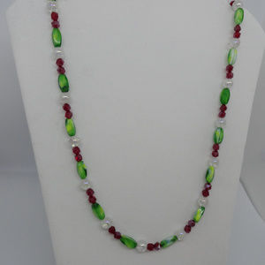 "29"" Red/ Green/ Holographic White Beads Necklace"